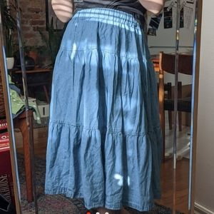 Vintage Denim Tiered Maxi Skirt